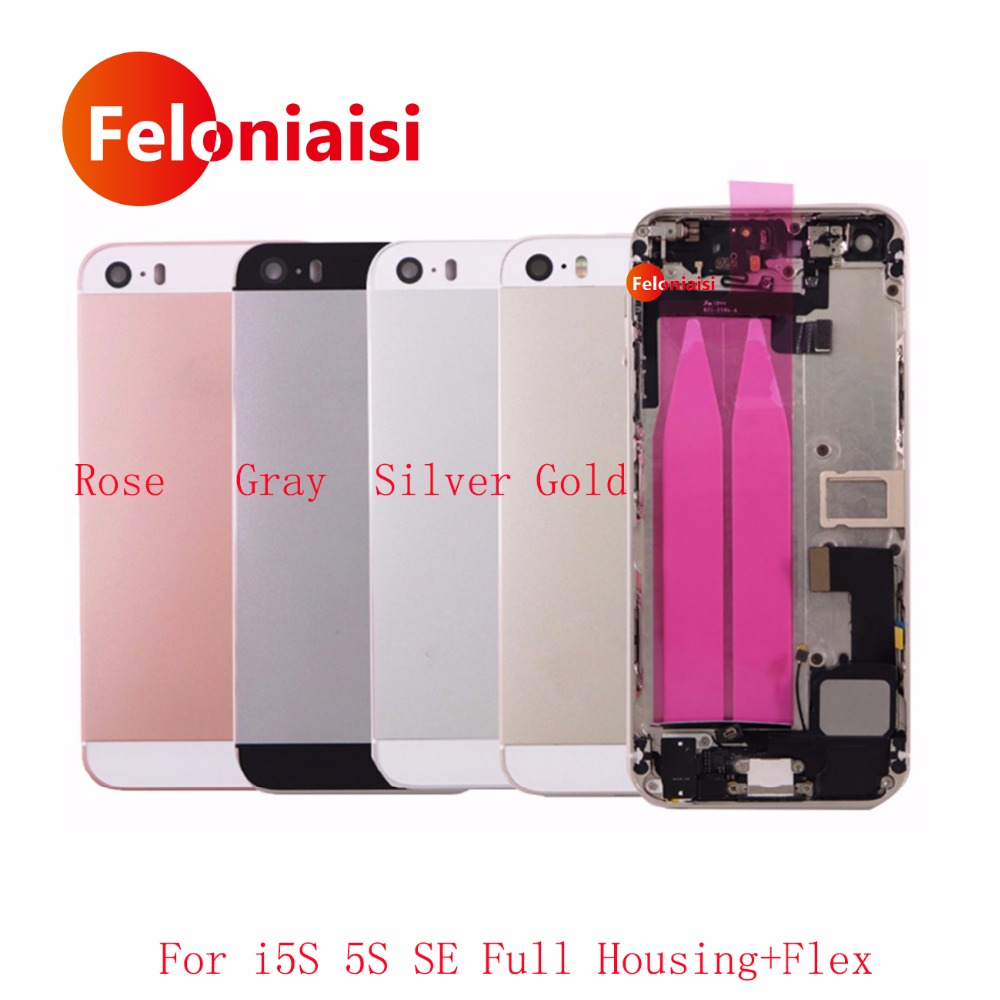 10Pcs/lot For IPhone 5 5G 5S SE Back Middle Frame Chassis Full Housing Rear Cover Battery Door With Flex Cable Assembly