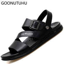 Men's sandals casual shoes leather 2019 summer breathable beach sandals shoe man fashion slippers outdoor flat sandals for men