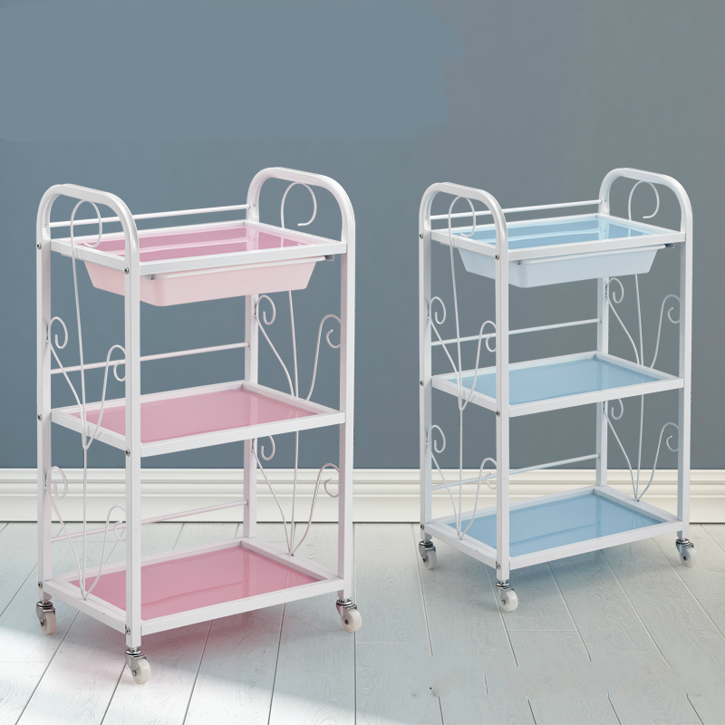Three Layers Beauty Salon Cart Barbershop Utility Trolley Simple Household Bathroom Storage Rack With Drawer Slidable Trolley