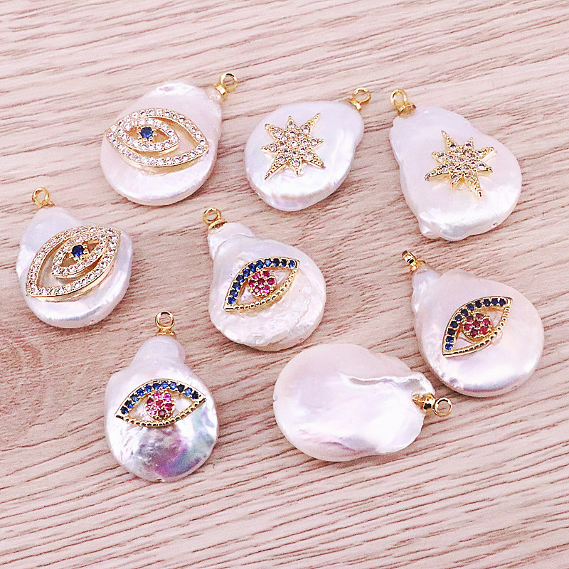 10Pcs New fashion freshwater pearl pendant,popular CZ jewelry pendant,accessories wholesale