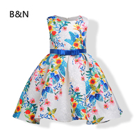 B N Tulle Formal Floral Dress Evening Knee Length Holiday Party Dresses Sweet Children Dress Beautiful