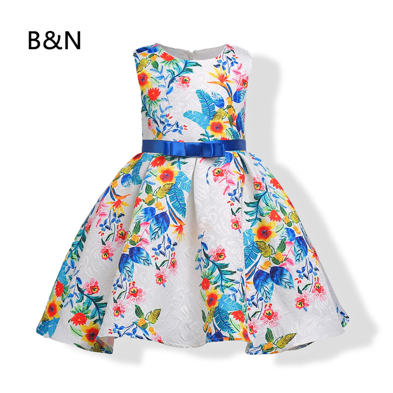B&N Tulle Formal Floral Dress Evening Knee-length Holiday Party Dresses Sweet Children Dress Beautiful Infant Dresses tulle trim layered knee length tee dress