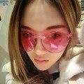 Primera Marca de Lujo de moda Las Gafas de Sol Cat Eye Shades gafas de Sol Para Las Mujeres MenIntegrated Gafas Lentes del Color de Caramelo