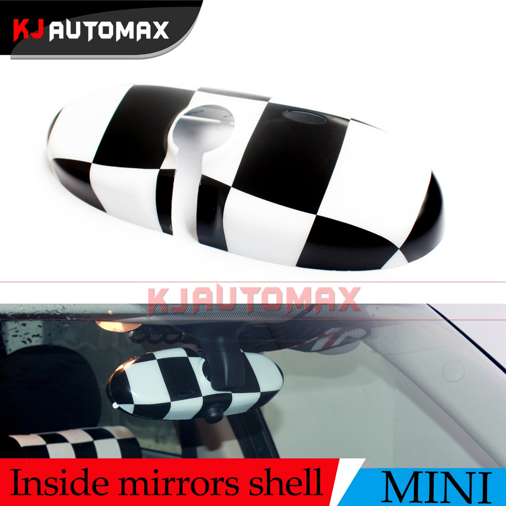 For Mini Cooper Checker Interior Rearview <font><b>Mirror</b></font> Cover Cap Shell Fit Countryman Clubman R55 R56 R57 R60R61 accessories KJAUTOMAX