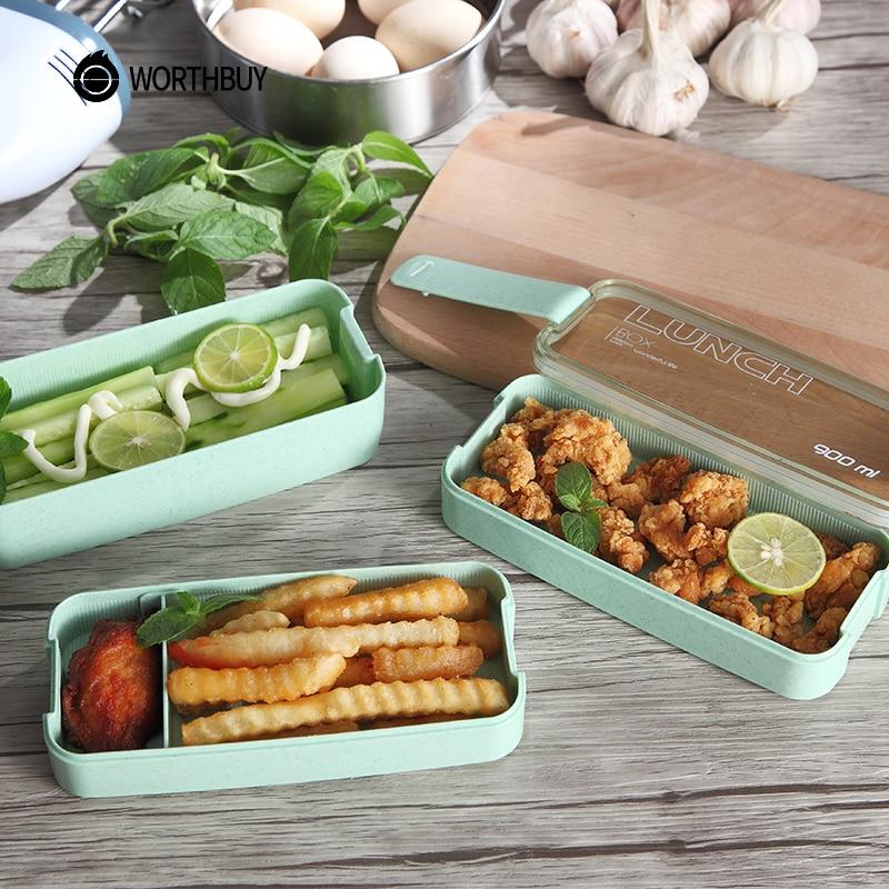 WORTHBUY Giapponese Forno A Microonde Scatola di Pranzo Per I Bambini della Scuola Eco-Friendly BPA Libero di Paglia di Grano Bento Cucina Box Contenitore di Plastica Per Alimenti