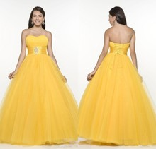 Cheap Quinceanera Gowns New Design Yellow Tulle Quinceanera Dresses 2015 Ball Gown Strapless Sweet 16 Dress Party Prom Gowns