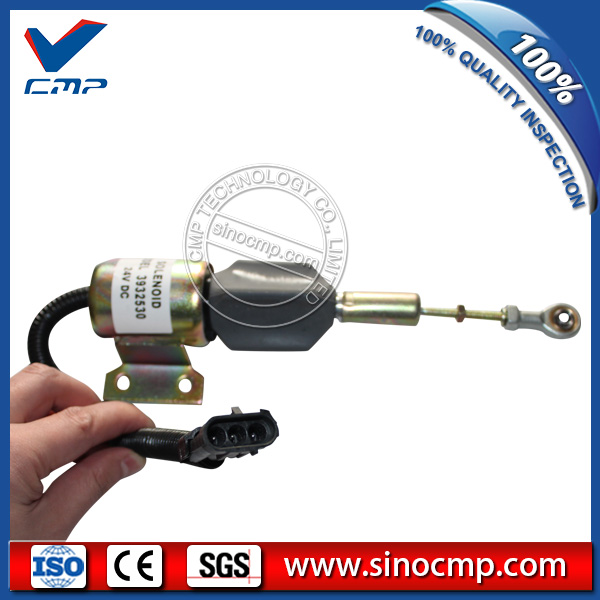 SINOCMP 24V diesel engine fuel stop solenoid 3932530 for cummins excavator fuel shutdown solenoid 1823723c91 sa 4338 24 for cummins navistar 24v