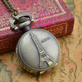 wholesale  price good quality vintage new retro romantic bronze mini Eiffel Tower pocket watch necklace with chain