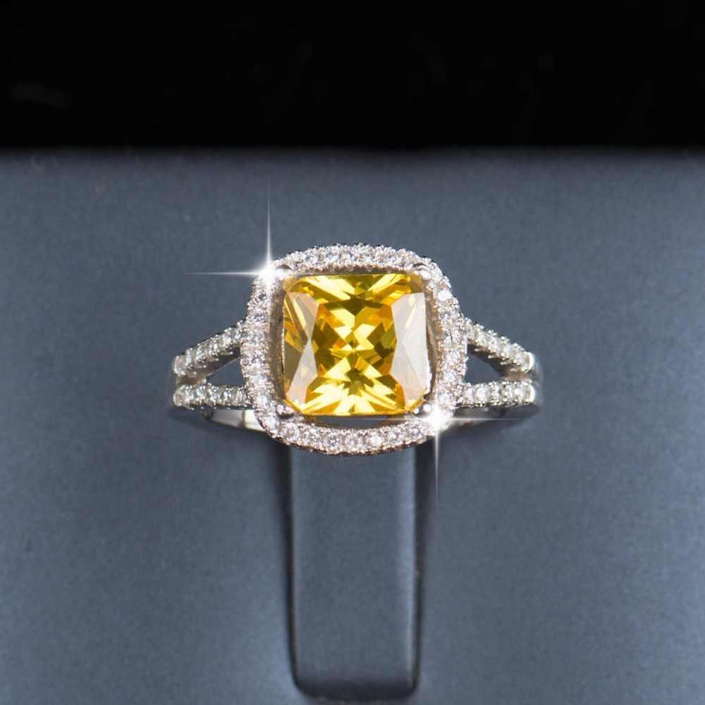 5 farbe R & J Fashion Qualität Echt 925 Sterling Silber Ring 3ct Hochzeit Engagement Marke ringe Kristall Schmuck für frauen Geschenk