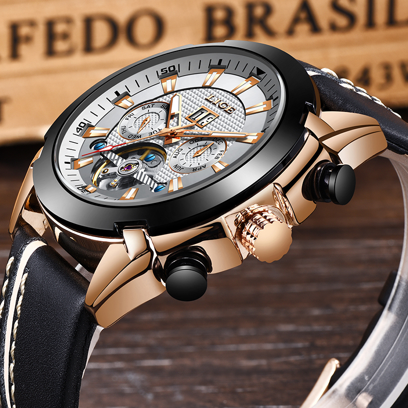 LIGE 2019New Luxury Fashion Tourbillon Automatic Mechanical Mens Watch  With Casual Business Waterproof Watch Relogio MasculinoLIGE 2019New Luxury Fashion Tourbillon Automatic Mechanical Mens Watch  With Casual Business Waterproof Watch Relogio Masculino