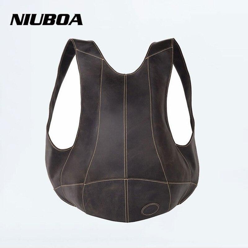 NIUBOA Genuine Leather Backpack Outside Pack Bags Men&Women Bicycles 100% Cowhide Backpack Shoulder Personalized Hug Bag