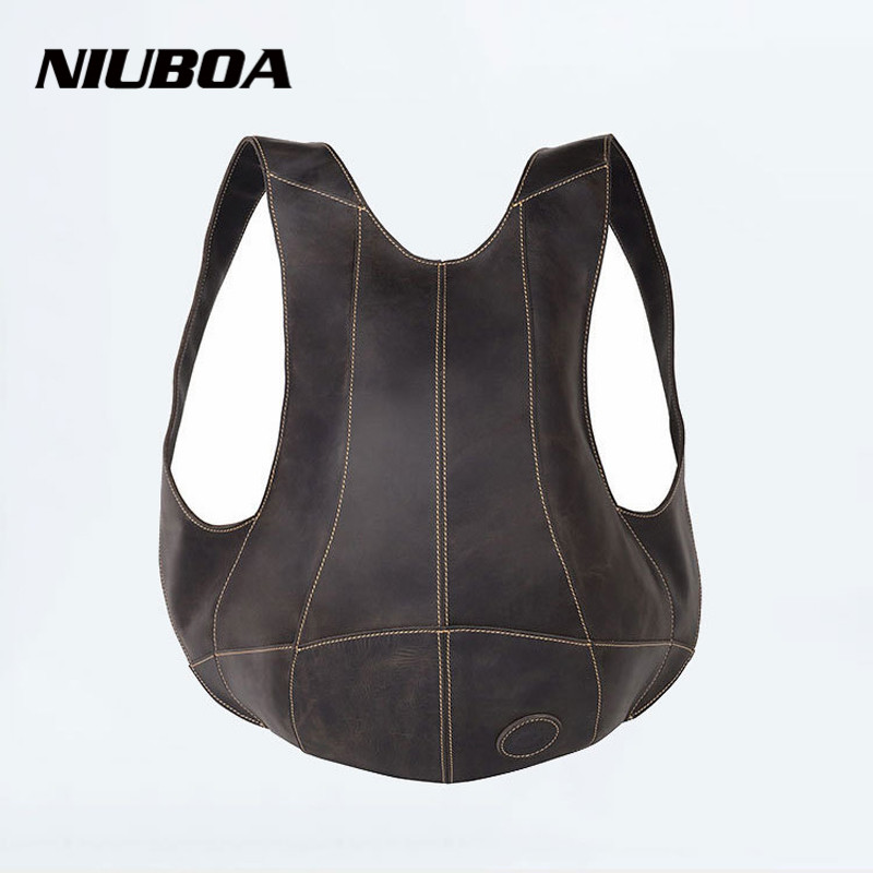 NIUBOA Genuine Leather font b Backpack b font Outdside Pack Bags Men font b Women b