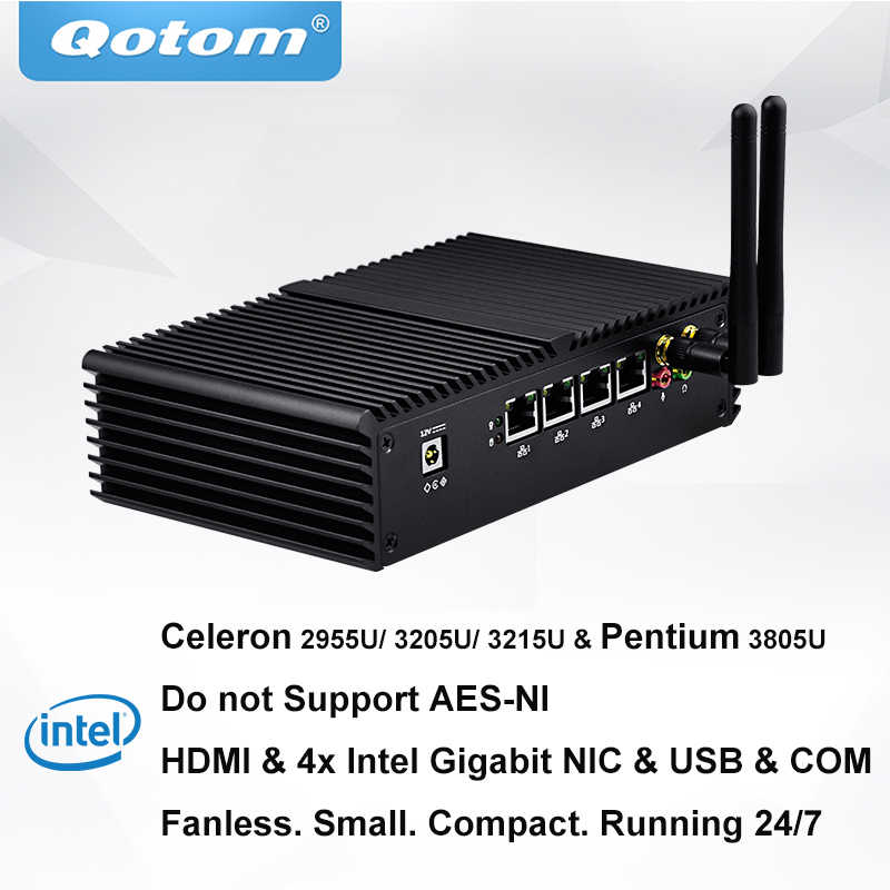 QOTOM Celeron Pentium Processor 4 LAN Mini PC pfSense Sophos Untangle Linux  CentOS to build Firewall Router