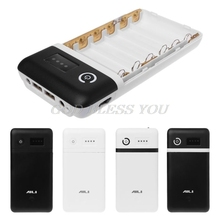Dual USB QC 3.0 6X18650 Pin DIY Power Bank Hộp Có Đèn LED DC 9V 12V củ Sạc Dành Cho iPhone Xiaomi Điện Thoại Máy Tính Bảng