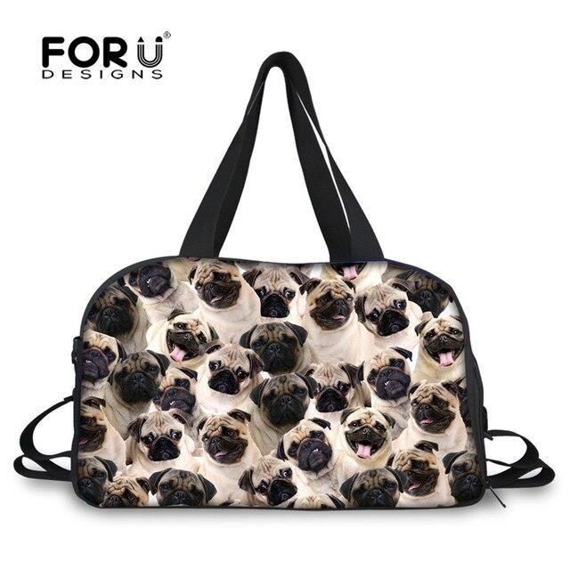 FORUDESIGNS Travel Duffle Tote Bag for Women Men 3D Animal Pug Dog Husky  Puzzle Portable Canvas ba6f1ab38cf96