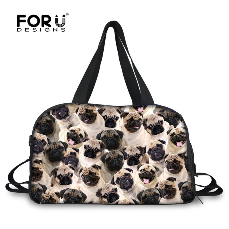 FORUDESIGNS Travel Duffle Tote Bag for Women Men 3D Animal Pug Dog Husky Puzzle Portable Canvas Bag Large Bag with Bottle Pocket