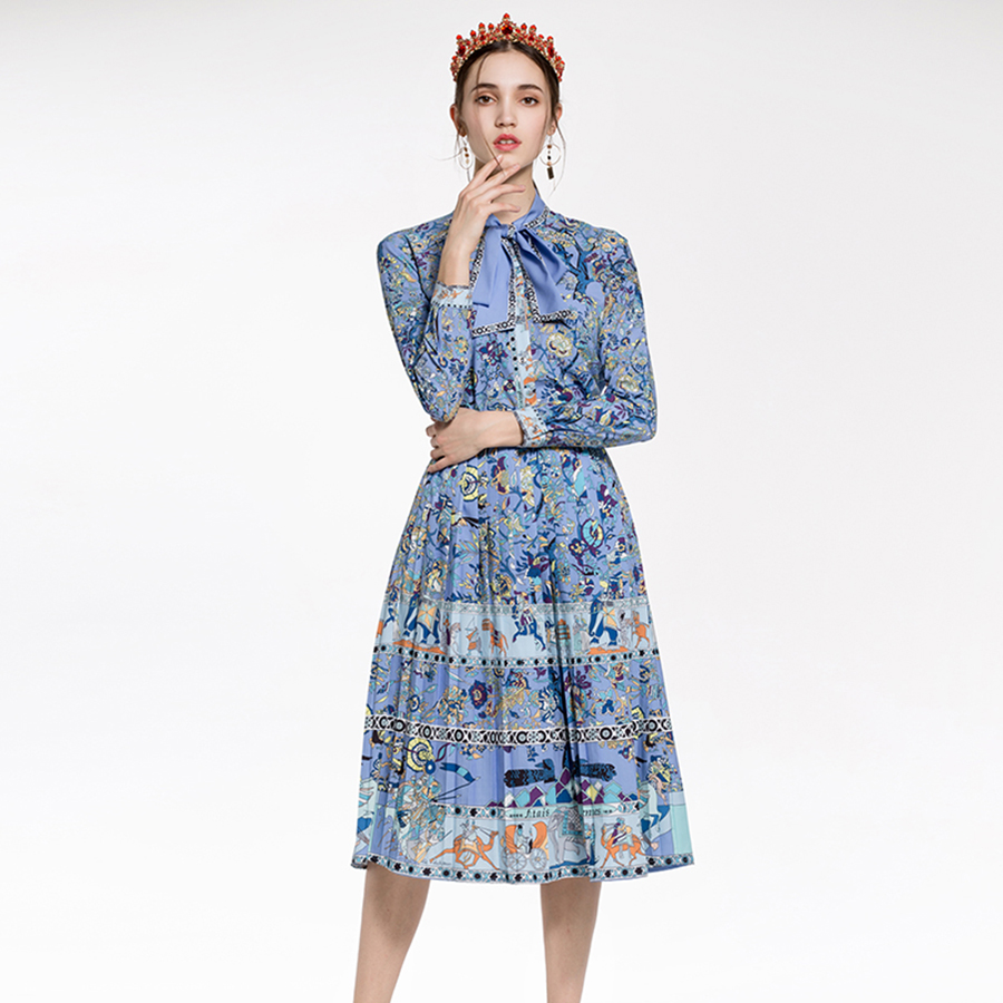 Grace Elegant Print Women Sets 2018 Spring High End Abstract Floral Print Full Sleeve Belt Shirts+A-Line Pleated Slim Mid Skirts