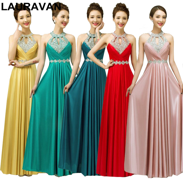Pink Gold Blue Long Halter Beaded Elegant Plus Size Bridesmaid Gowns Dress Bride Red Dresses For