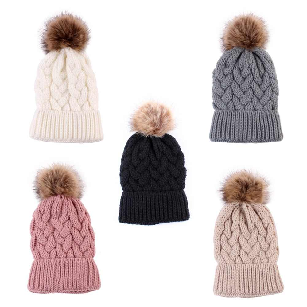 0c197ac9dd59d ... Puseky Knitted Wool Pompom Hat Women Girl Winter Beanie Cap Family  Matching Outfit Lady Faux Fur ...