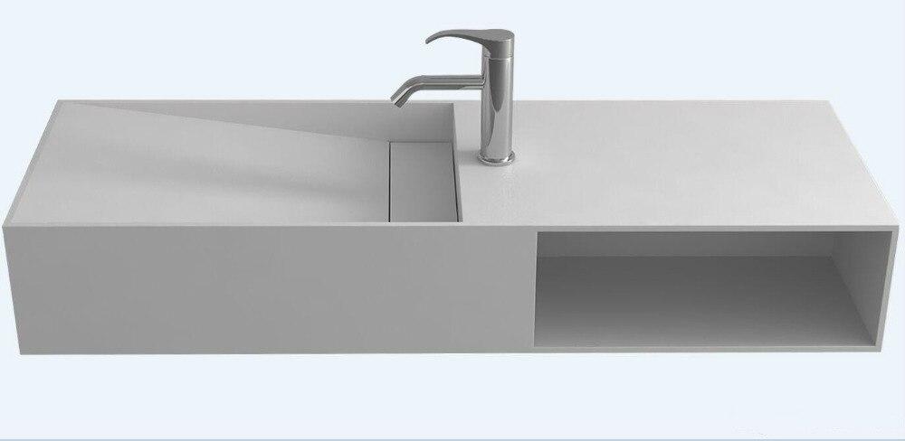 Cuarto de baño Rectangular encimera lavadero Corain lavabo superficie sólida mate lavabo montado en la pared con gabinete RS38228-1410