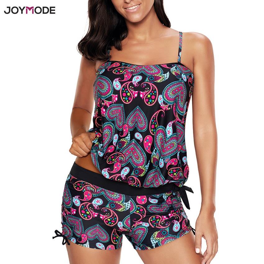 JOYMODE Two Piece Tankini Swimwear Plus Size Print Beach Bathing Suits Padd Push Up Beachwear Straps Wireless Bikini Set 4XL 5XL