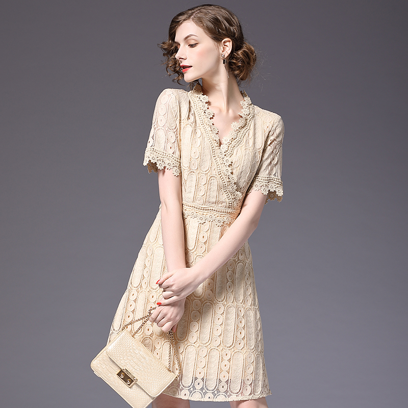 Новый Для женщин Кружево платье с v-образным вырезом Вечеринка бежевый Цвет Платья для женщин Slim Fit элегантная женская одежда ssd167
