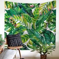 Drop Shipping Green Plant Banana Leaf Hanging Wall Tapestries Mandala Bohemian Tapestry Landscape Wallpaper Wall Art Shawl Throw