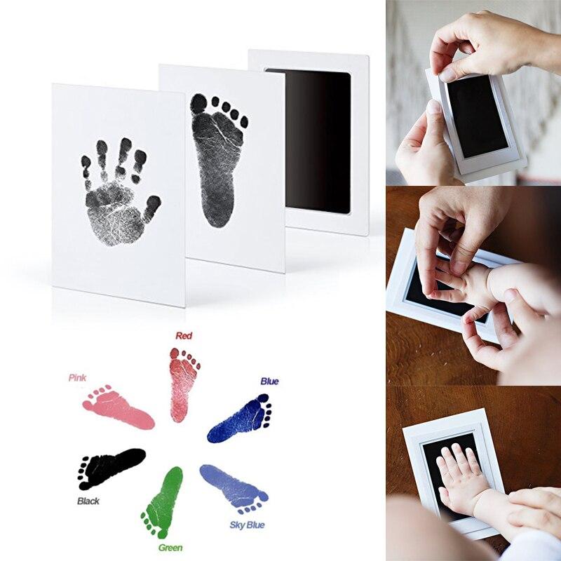 Baby Footprint Maker Keepsake Non-Toxic Frame DIY Handprint Imprint Kit Baby Souvenirs Casting Clay Print Newborn Ink Pad Toys
