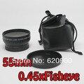 100% ГАРАНТИЯ 2 шт. 55 мм 0.45X ШИРОКОУГОЛЬНЫЙ + макро-Объектив Для Canon Sony Pentax Olympus Leica Tamron