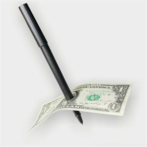 Hot Sale Magic Trick Ball Pen Brand Black Magician Toy Thru Bill Penetration Dollar Bill Pen Trick