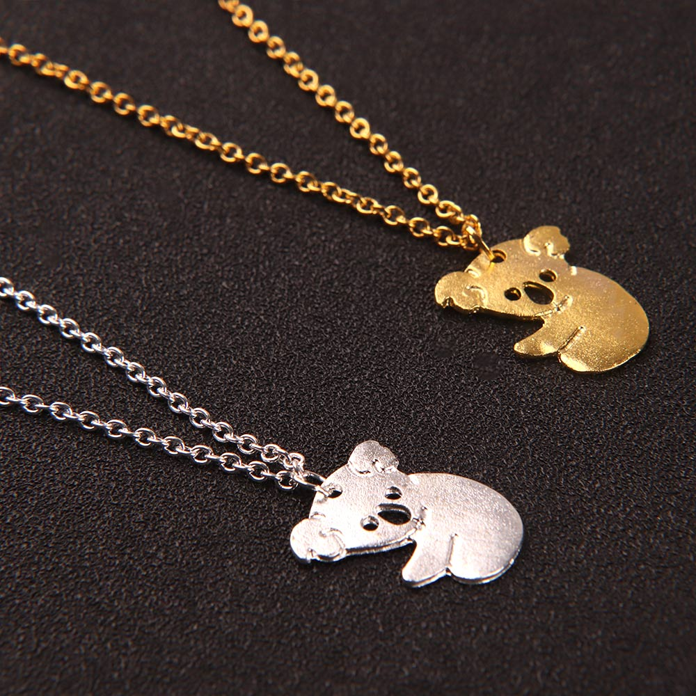 Cute Gold Silver <font><b>Koala</b></font> Necklace Australian <font><b>Koala</b></font> <font><b>Bear</b></font> Necklaces Pendants For Women Animal Charm <font><b>Jewelry</b></font> collier femme image