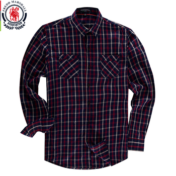 Striped Plaid Long Sleeve Casual Cotton Shirt