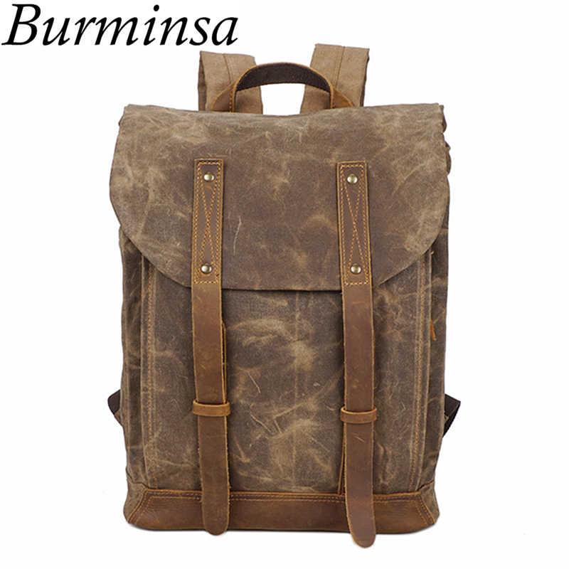 bdc7e5bbe68b Burminsa Wax Canvas Leather Male Backpack Vintage 17inch Laptop Bags  Waterproof Men Travel Bagpack School Bags