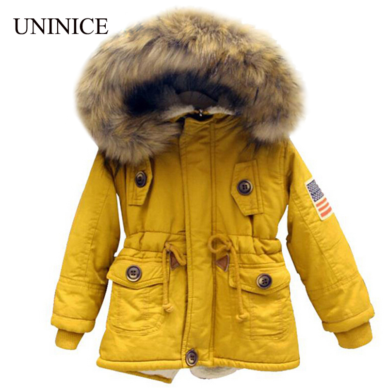 2-7T baby boy clothes girls boys coats and jackets 2017 new winter boys USA flag hooded coat thick warm kids winter coat girls
