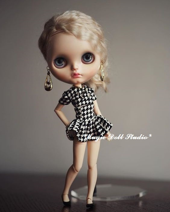 [MG471] 2018 New Neoblythe Doll In Clothes # Grid Top And Skirt Set For Blyth Azone Doll Outfit For Making Wholesale