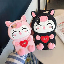 Cute 3D Cartoon Love Cat Silicon Case For iphone X XR XS Max S Back Cover coque 6 6S 7 8 Plus Phone cases
