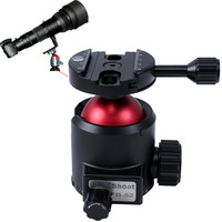 Low Center of Gravity High Locking Force Ball Head w/ Panoramic Panning Base for RRS Arca Fit Camera Tripod Quick Release Plate