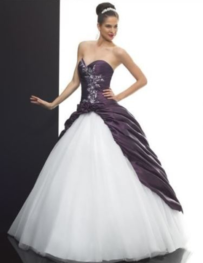 2016 newest ball gown white and purple wedding dresses pleated appliques taffeta floor length bridal gowns