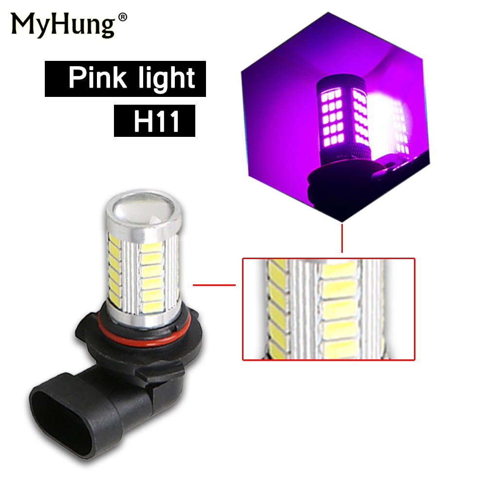 2Pcs H11 33 SMD 5630 LED 14W 1000LM 6000k Bulbs Car Fog Driving DRL Light Lamp 33SMD len Bulb Ice blue Red Yellow Pink White 12V h1 led bulbs super bright high power t10 h3 10 smd 5630 auto led car fog signal turn light driving drl lamp 12v white amber red