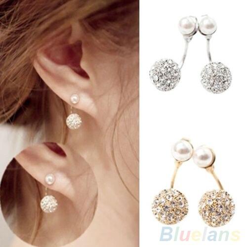 Enthusiastic Womens Rhinestone Faux Pearl Front & Back Earrings Ear Studs Earbobs 4q3g Earrings Stud Earrings