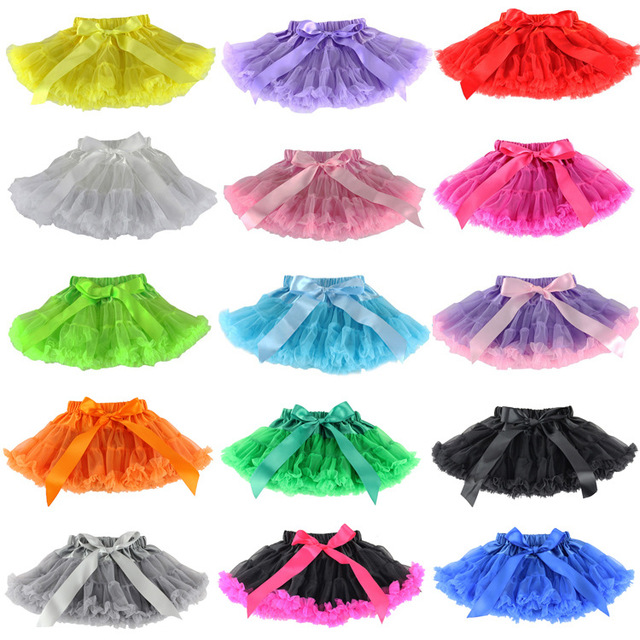 Front Free 1-10 years flabby chiffon pettiskirts Tutu Cinemas 20 cores of Tule Meninas Princess RoomBaby bow skirt free shipping