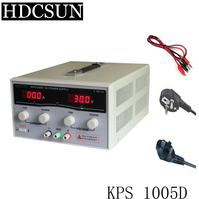 KPS1005D High precision High Power Adjustable LED Dual Display Switching DC power supply 220V EU 100V/5A 1200w wanptek kps3040d high precision adjustable display dc power supply 0 30v 0 40a high power switching power supply