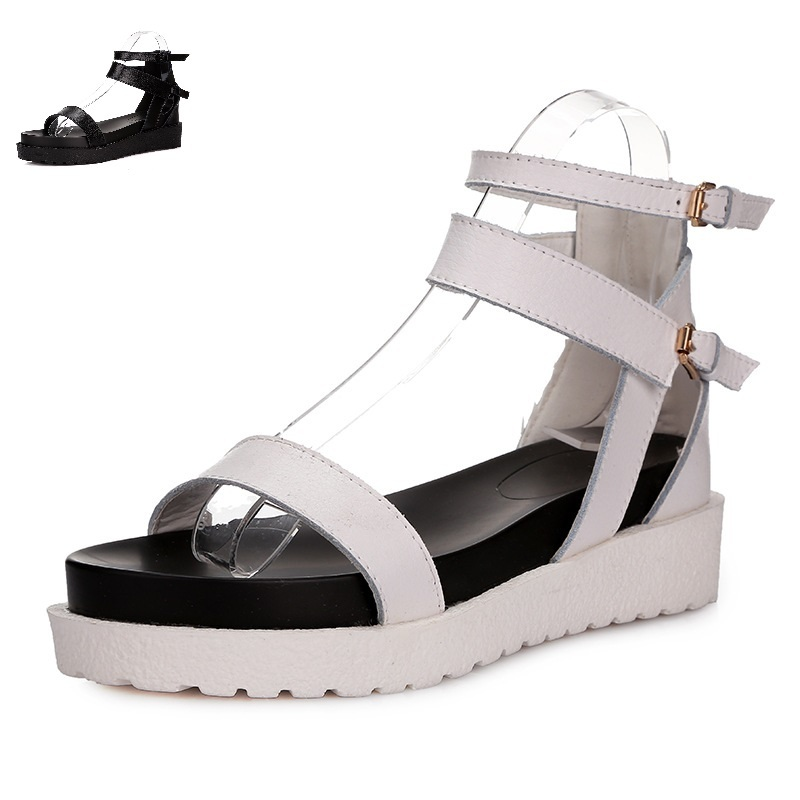 Hot Sale 2015 Women Platform Sandals Black White Wedge Flip