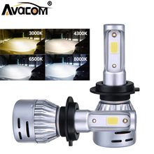 LED H7 H4 H1 H11 H8 Car Bulb 6000K Lamp 9005 9006 HB3 HB4 12V 24V 8000Lm 72W COB Chip Luces LED Para Auto Ampoule LED Voiture(China)
