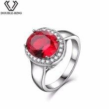 DOUBLE R Sterling Silver Bạc Nhẫn đối với Phụ Nữ 2.65ct Hình Bầu Dục Tạo Của Ruby Đá Quý Zircon 925 Engagement Ring