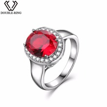 DOUBLE R Sterling Silver Rings for Women 2.65ct Oval Created Ruby Gemstone Zircon 925 Engagement Ring