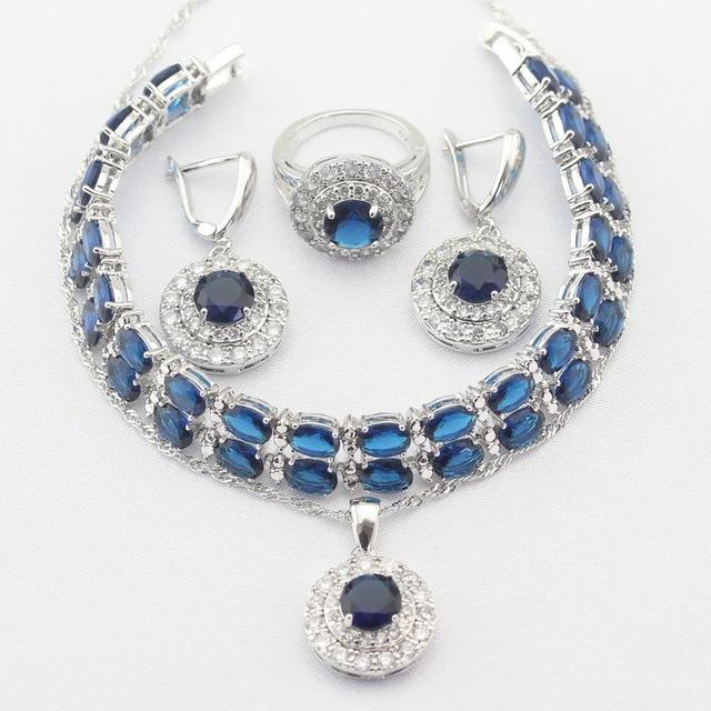 Redondo Color Plata Collar Colgante Pendientes Anillos pulsera Azul Zafiro Creado Sistemas de La Joyería Para Las Mujeres Regalo de Navidad