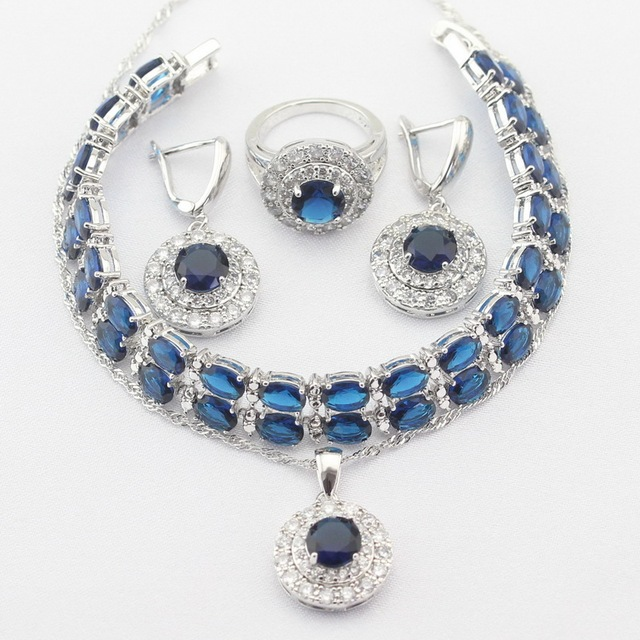 Round Silver Color Necklace Pendant Earrings Rings bracelet Blue Created Sapphire Jewelry Sets For Women Christmas Gift