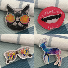 fashion brooch pin acrylic cartoon icons with a pins badges Pirate Captain sunglass lion cat Broche BR0002