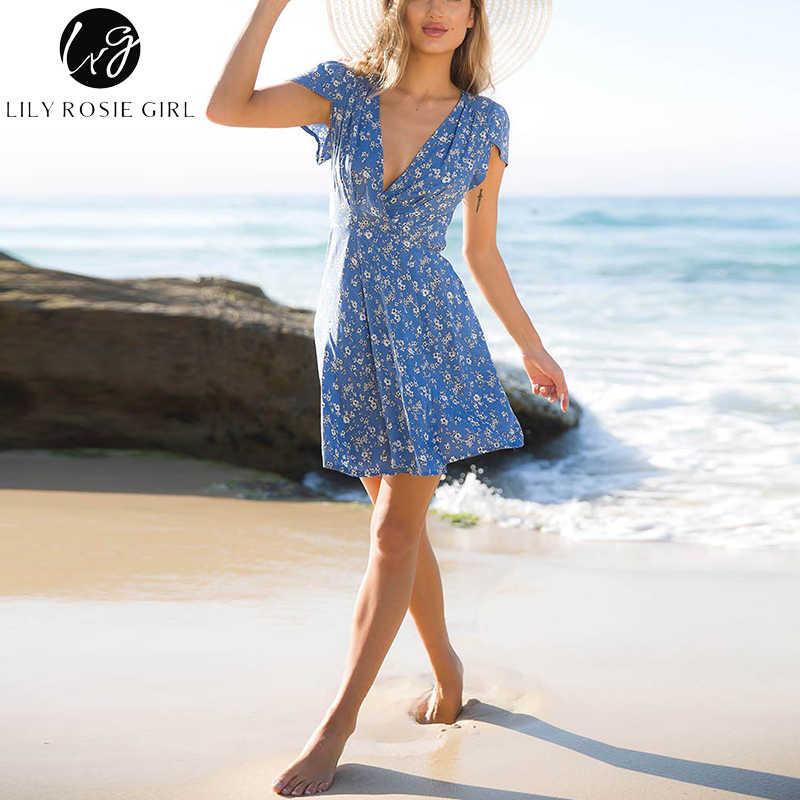 Lily Rosie девушка синий цветочный принт летнее пляжное платье Boho Стиль Глубокий V средства ухода за кожей шеи короткий рукав пикантные Вечерние